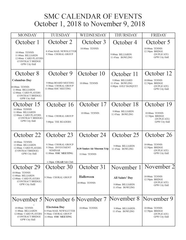 October 18 calendar
