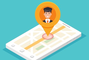 Taxi mobile app.  Smartphone isometric with cabdriver pin. Vector illustration.